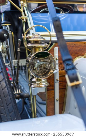 oil lamp, part of the very old car - stock photo