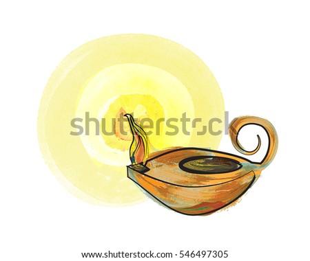 Oil Lamp Vintage Antique Vigil Lamp Stock Illustration 546497305 ...