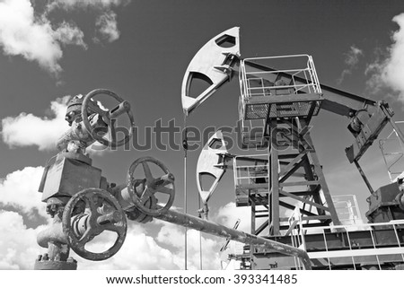 Oil latch and pump - stock photo