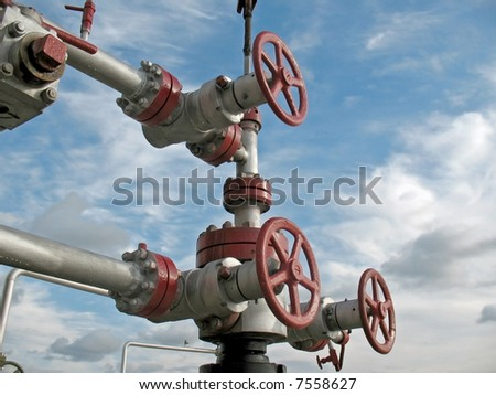 Oil latch on a pipeline. - stock photo
