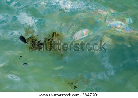 Oil leaking from the  U.S.S. Arizona in Pearl Harbor, Hawaii