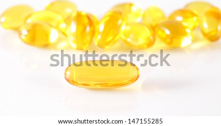 oil omega 3 gel capsules isolated on white background