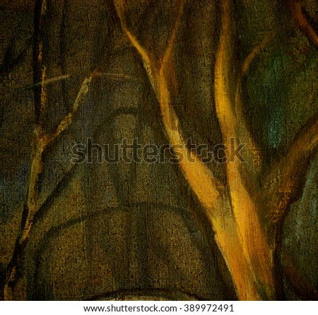 oil on canvas landscape,  trees in night park