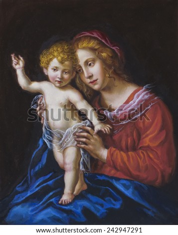 oil on canvas of a young woman and her child - stock photo