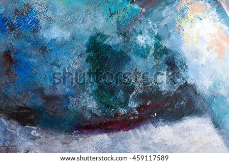 oil paint abstract figure sketch of bright colors on the canvas of a textured background