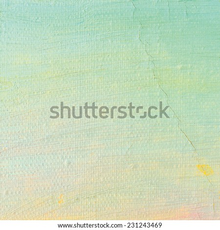Oil paint background, bright ultramarine blue yellow, pink, turquoise, large brush strokes painting detailed textured pastel colors macro closeup, horizontal texture pattern, old aged scratched canvas - stock photo