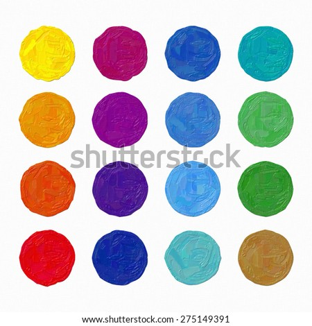 Oil paint hand painted circles - stock photo