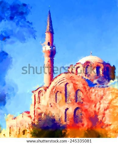 oil paint istanbul kalenderhane mosque - stock photo