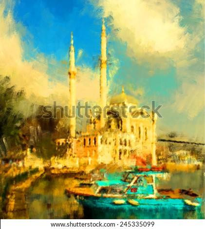 oil paint istanbul view bosphorus ortakoy mosque - stock photo