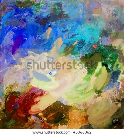 Oil paint mixed on a palette - stock photo