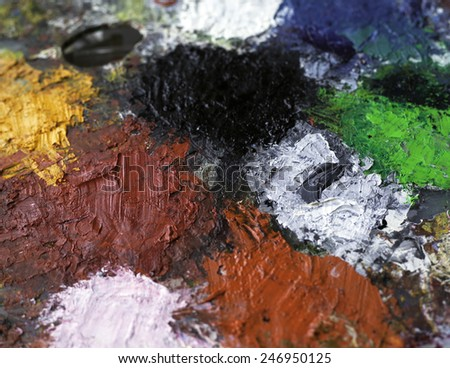 oil paint palette background - stock photo