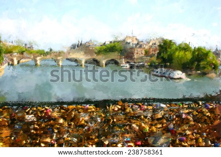 oil paint paris seine river  - stock photo