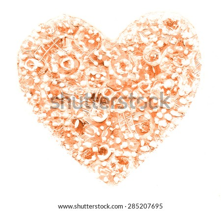 Oil painted abstract color heart on white background. Design element. Can be used for cards, invitations, greetings, scrapbooking. Love symbol.