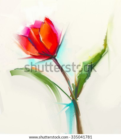 Oil painting a single Red tulip flower with green leaves. Hand painted Still life floral in soft color background. - stock photo