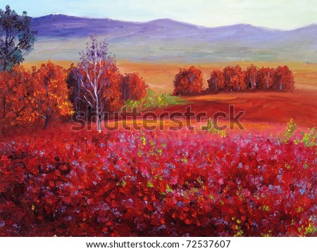 Oil Painting - Abstract Red Autumn - stock photo