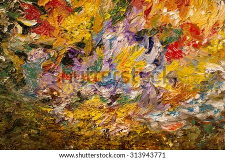 Oil painting background. Palette knife oil paint.  Art concept. - stock photo