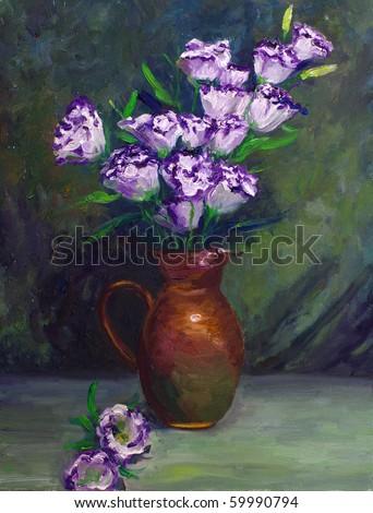 Oil-Painting - Balloon Flower - stock photo