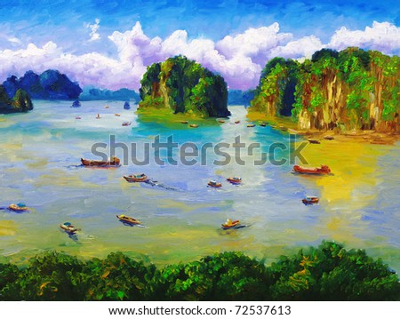 Oil Painting - Bay, Thailand - stock photo