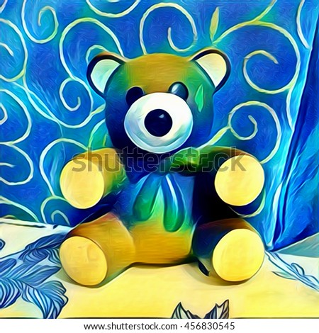 Oil painting bear doll, Art,For decorate home. - stock photo