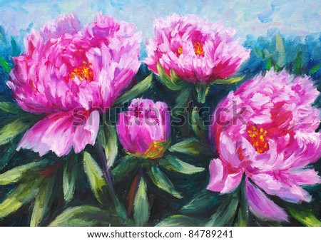 Oil Painting - Blooming Peony - stock photo