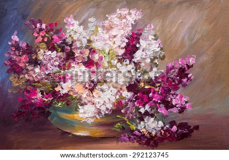 oil painting - bouquet of lilac, colorful still life - stock photo