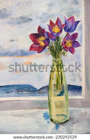 Oil painting. Bouquet of snowdrops on the window - stock photo