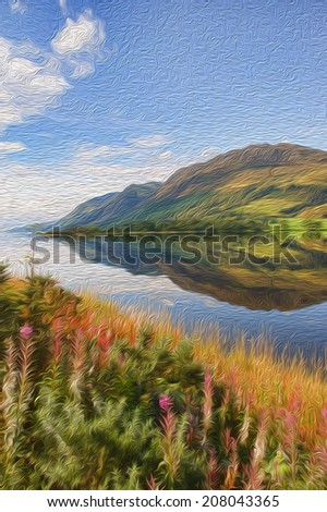oil painting breathtaking scenic nature mountain water landscape - stock photo
