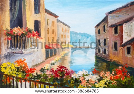 oil painting, canal in Venice, Italy, famous tourist place, colorful impressionism - stock photo
