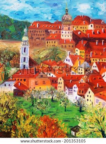 Oil Painting - Cesky Krumlov, Czech Republic  - stock photo