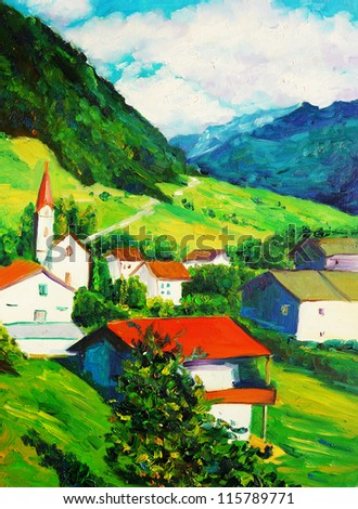 Oil Painting - Church - stock photo