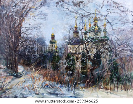 oil painting, church in the distance, winter and the temple in the picture - stock photo