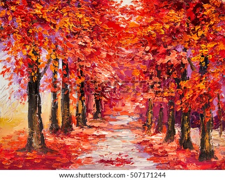 oil painting colorful autumn trees impressionism stock