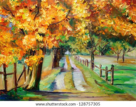 Oil Painting - Country Road with Maple - stock photo