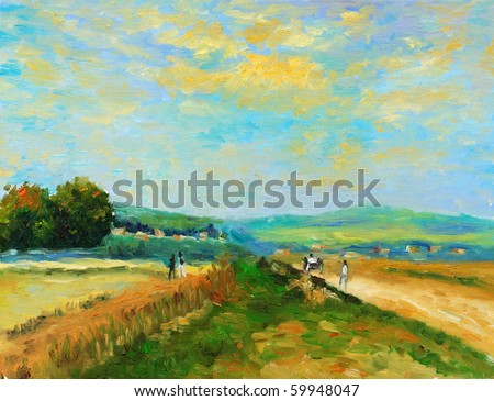 Oil-Painting - Countryside - stock photo