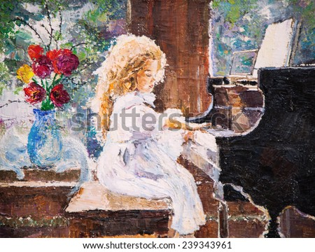 oil painting cute little girl that plays the piano - stock photo