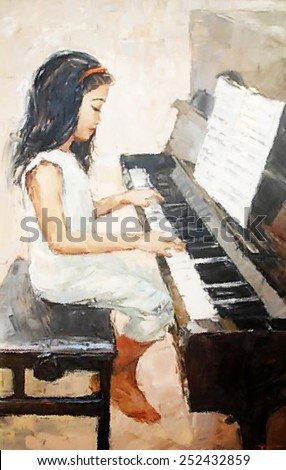 oil painting cute little girl that plays the piano