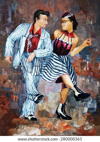 oil painting,dancers digital painting/tango dancers - stock photo