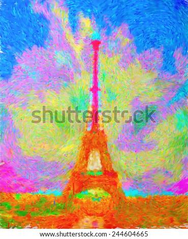 oil painting eiffel tower paris - stock photo