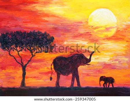 Oil Painting - Elephant, Africa - stock photo