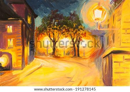 Oil Painting - evening street in Paris - stock photo