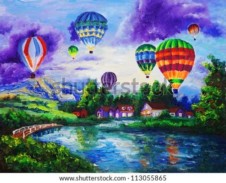 Oil Painting - Fire Balloon - stock photo