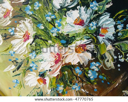 Oil Painting flowers - stock photo