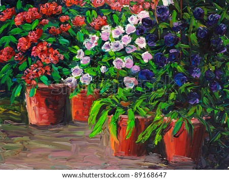 Oil Painting - Flowers - stock photo
