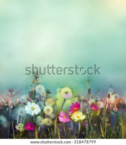Oil painting flowers dandelion, poppy, daisy in fields. Hand Paint Wildflowers field in summer meadow. Spring floral seasonal nature with blue and green in soft color background. - stock photo