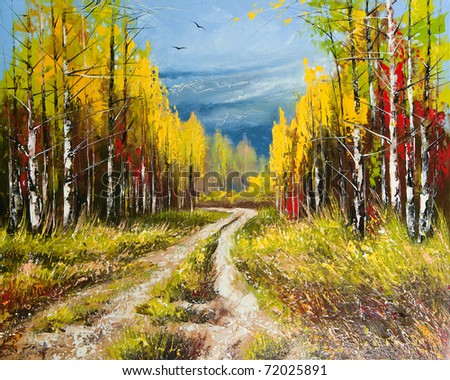 Oil Painting - gold autumn