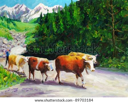 Oil Painting - Grazing Bull - stock photo