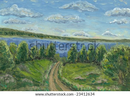 Oil painting hand drawn with sunny summer day(the road go from the Volga rive)