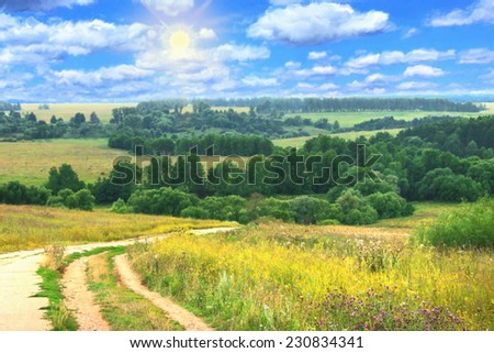 oil painting, hilly summer landscape with country road - stock photo