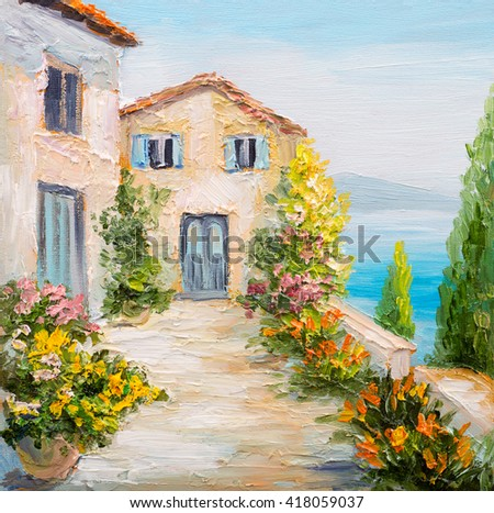Oil Painting House Near Sea Colorful Stock Illustration 418059037 Shutterstock