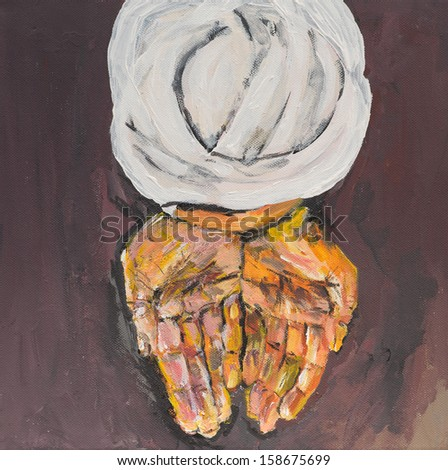 oil painting illustrating an arabic man offering something with his hands, praying - stock photo